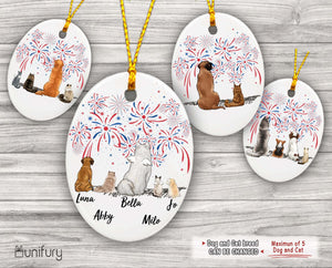 Personalized custom dog & cat ceramic ornament Christmas gift for dog cat mom dad lover owner 4th Of July - 2283