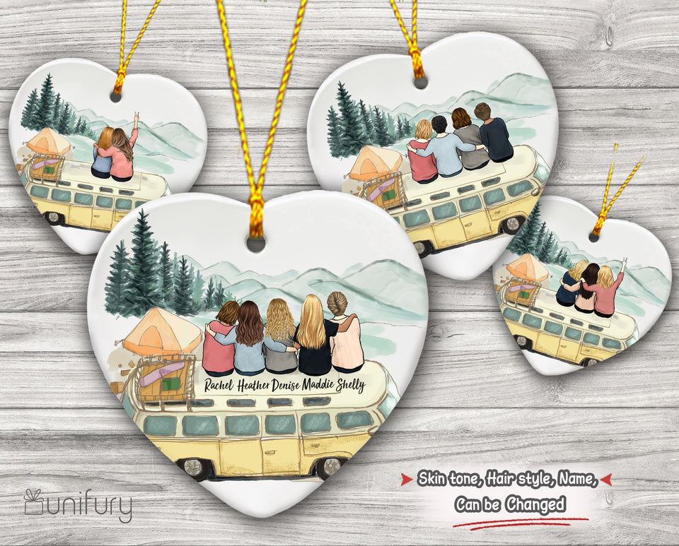 Personalized custom female best friend bestie sister Birthday Christmas gift ideas ceramic ornament(PRINTED ON BOTH SIDES) - Camping - 2272