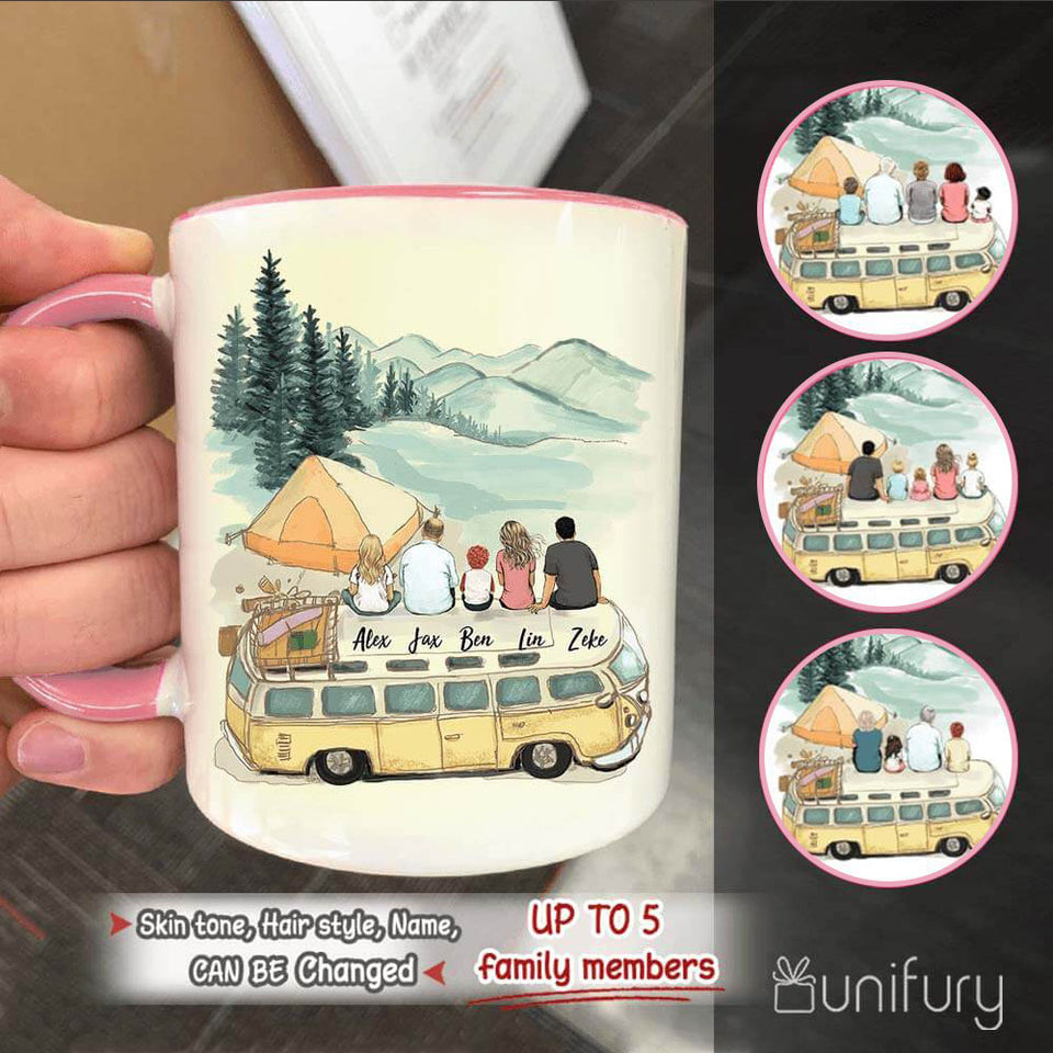 Personalized gifts for the whole family Accent mug - UP TO 5 PEOPLE - Camping - 2426