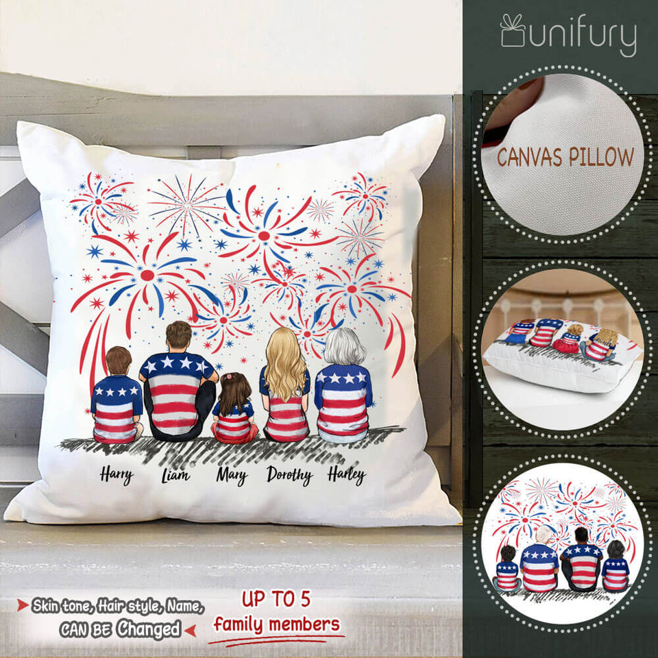 Personalized family members Throw Pillow 4th Of July gift for the whole family - UP TO 5 PEOPLE