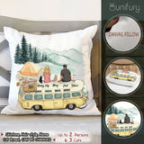 Personalized custom cat & couple Throw Pillow - Camping
