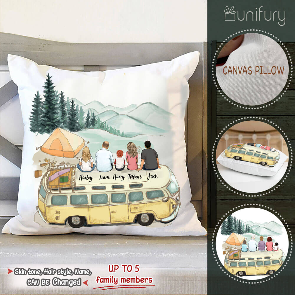 Personalized family members Throw Pillow gift for the whole family - UP TO 5 PEOPLE - Camping