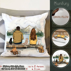 Personalized custom cat & couple Throw Pillow - Mountain - Hiking