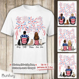 Personalized custom cat & couple T-Shirt gift for cat mom dad lover owner 4th Of July - 2408