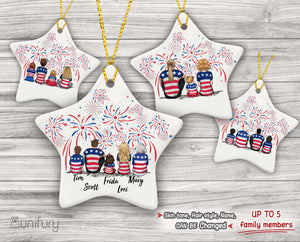 Personalized family members Ceramic Ornament Christmas gift for the whole family 4th Of July(PRINTED ON BOTH SIDES) - UP TO 5 PEOPLE - 2426