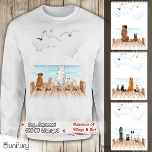 Personalized custom dog & cat sweatshirt gift for dog cat mom dad lover owner - Wooden Dock - 2283