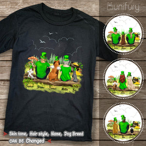 [BLACK] Personalized custom dog & couple St Patrick's day t-shirt tee for dog mom dad lover owner - 2422