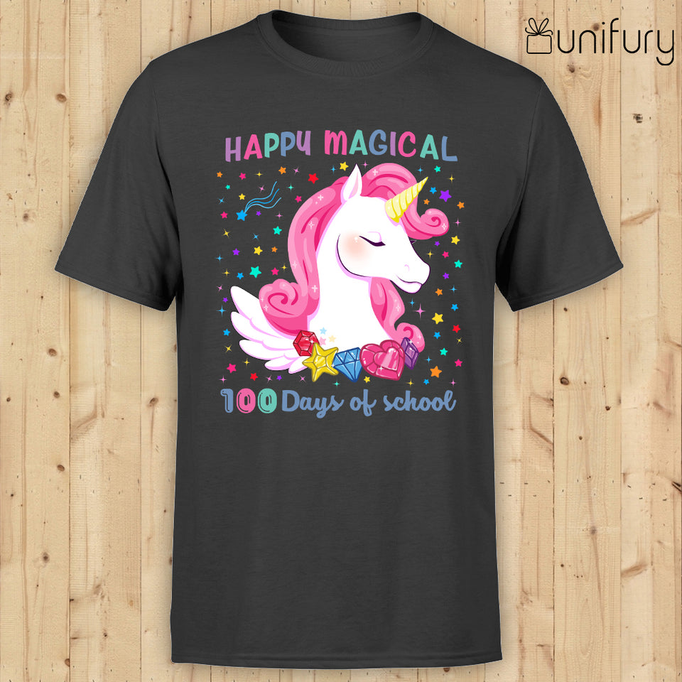 [MAN WOMAN] Happy 100 days of school t-shirt tee ideas for teachers - Happy magical