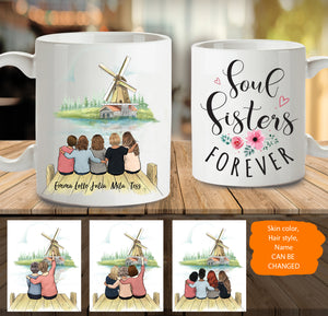 Personalized custom female best friend bestie sister birthday gift ideas coffee mug Windmill - 2315