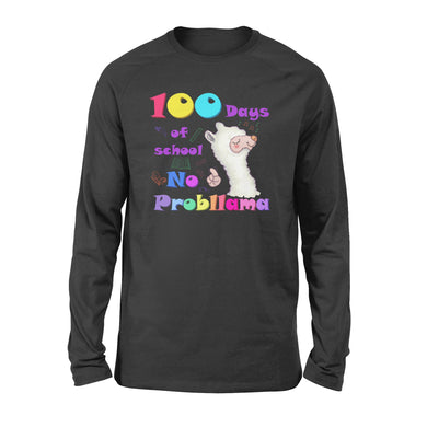 [MAN WOMAN] Happy 100 days of school long sleeve ideas for kid kindergarten students - 100 days of school no probllama