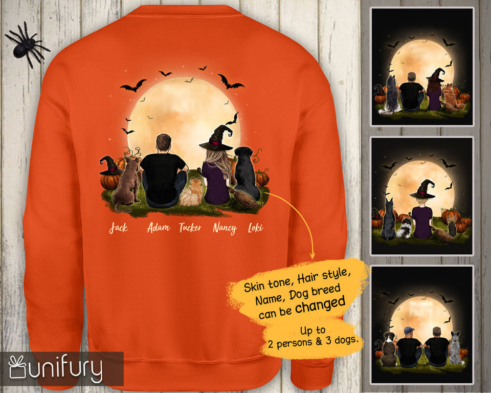 [ BACK SIDE ] [ ORANGE PURPLE ] Personalized custom dog & couple sweatshirt Halloween gift for dog mom dad lover owner - 2398