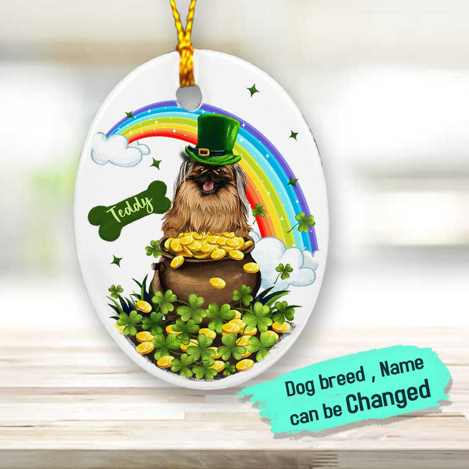 Personalized gifts for dog lovers - St. Patrick's Day - Ceramic Ornament (PRINTED ON BOTH SIDES) - Lucky Charm