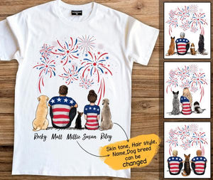 Personalized custom dog & couple t-shirt tee Fourth 4th of July gift for dog mom dad lover owner - 2340