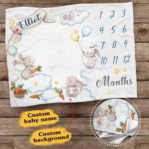 Personalized baby milestone fleece blanket - Cute rabbit background