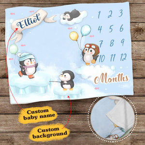 Personalized baby milestone fleece blanket - Cute penguin background
