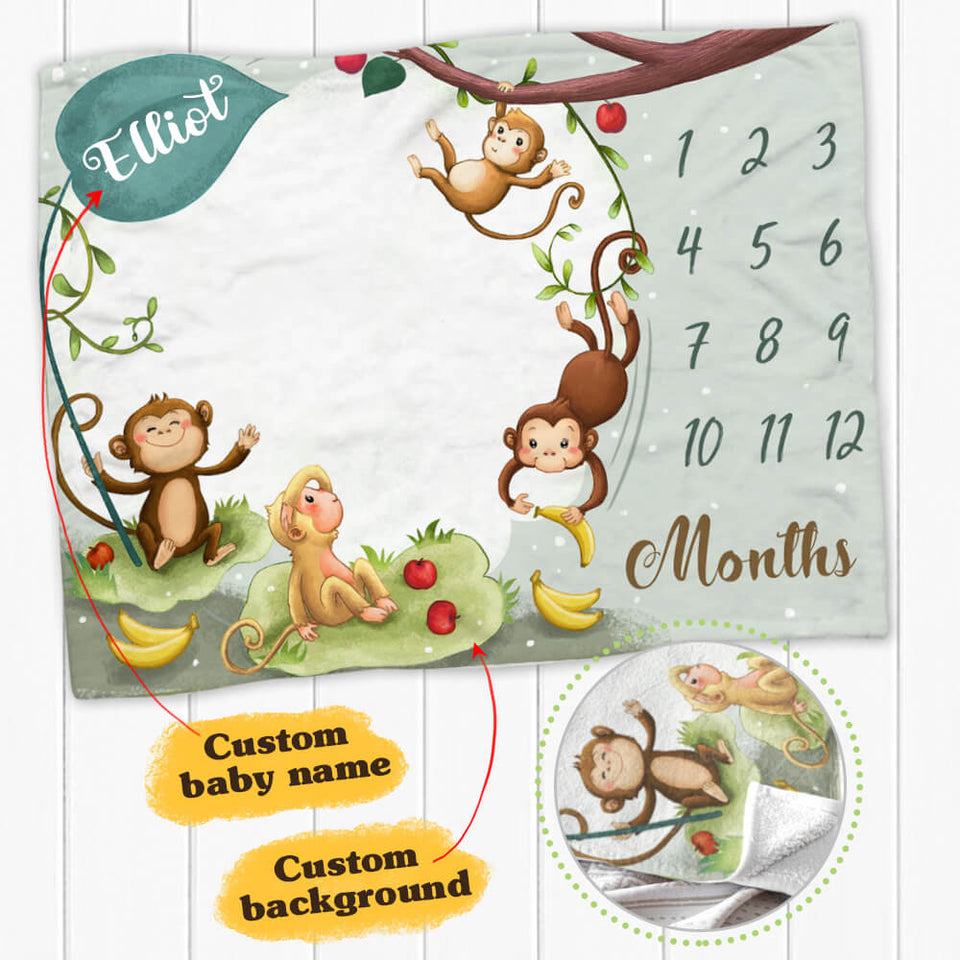 Personalized baby milestone fleece blanket - Cute monkey background