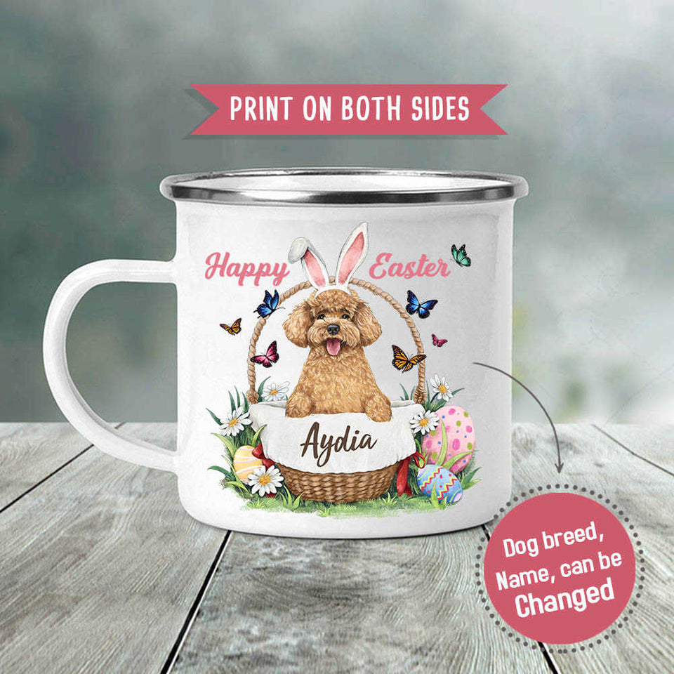 Personalized gifts for dog lovers campfire mug - Happy Easter