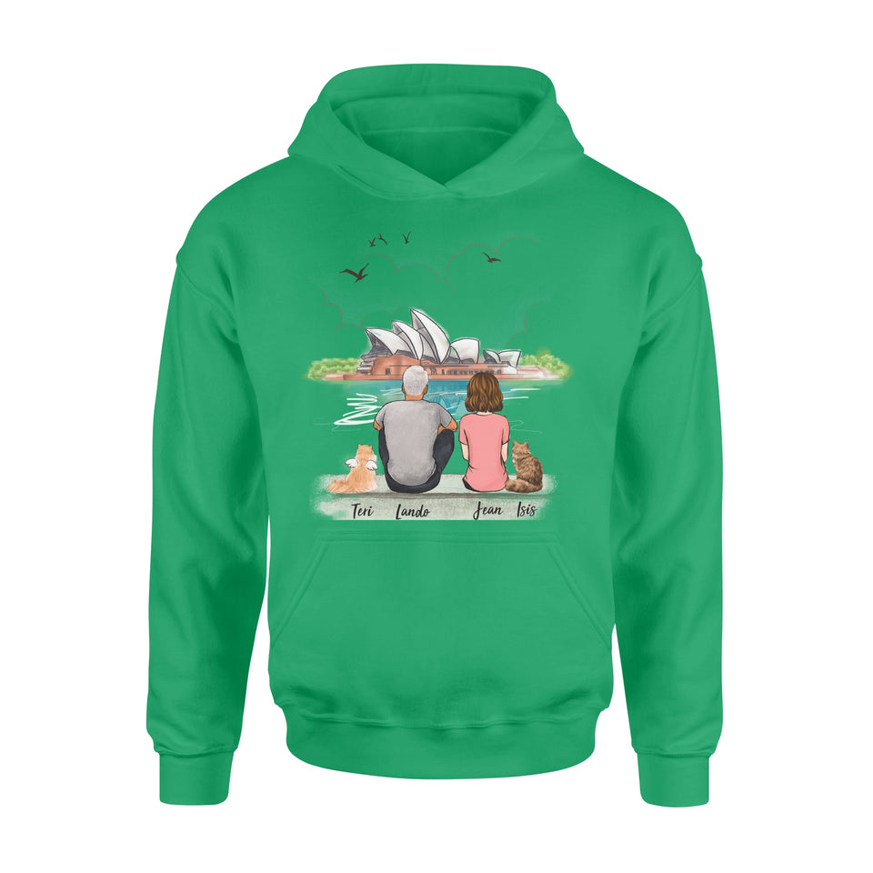 Personalized custom cat & couple hoodie gift for cat mom dad lover owner Opera house - 2423