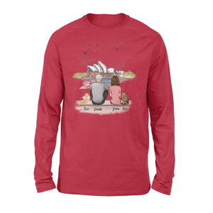 Personalized custom cat & couple long sleeve gift for cat mom dad lover owner Opera house - 2423