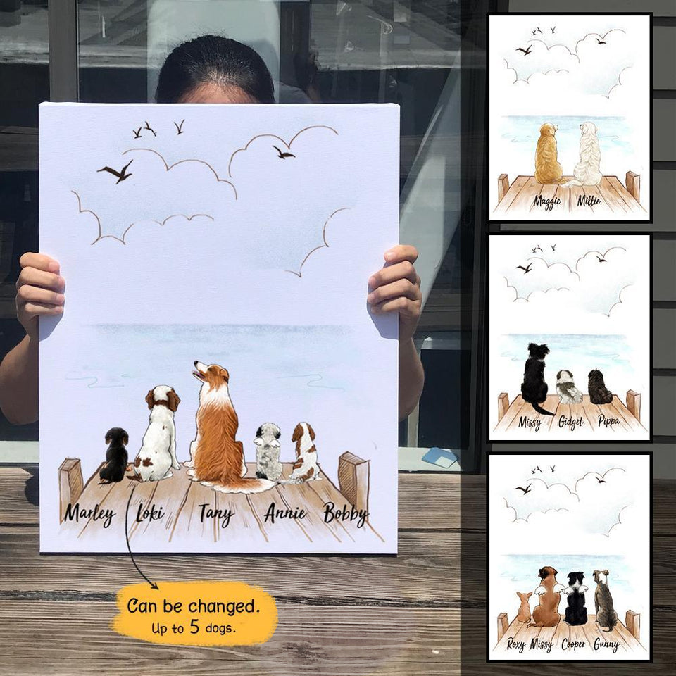 Personalized custom dog canvas print canvas art gift for dog mom dad lover owner - Wooden Dock - 2386