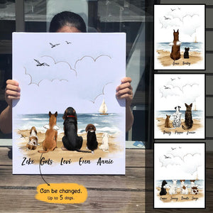 Personalized custom dog canvas print canvas art gift for dog mom dad lover owner - Beach - 2387