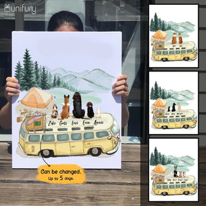 Personalized custom dog canvas print canvas art - Camping - 2388