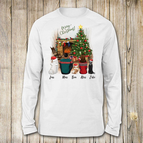 dog and dog owner christmas white long sleeve gift for dog lovers