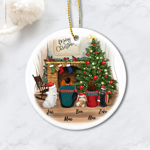 dog and dog owner christmas circle ornament gift for dog lovers