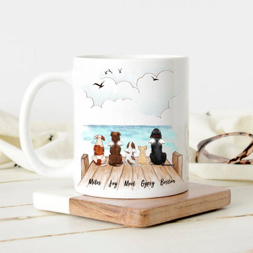 dog sitting on wooden dock 11oz mug gift for dog lovers