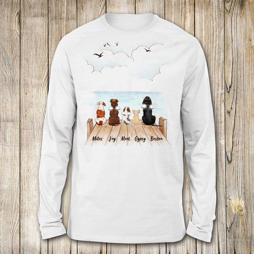 dog sitting on wooden dock long sleeve gift for dog lovers