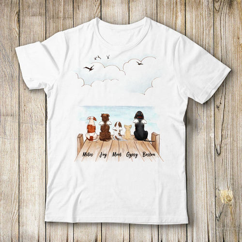 dog sitting on wooden dock t shirt gift for dog lovers