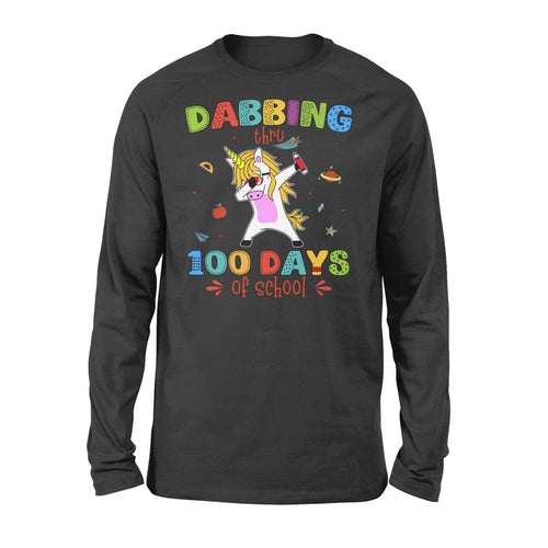 [MAN WOMAN] Happy 100 days of school long sleeve ideas for kid kindergarten students - Dabbing thru 100 days of school