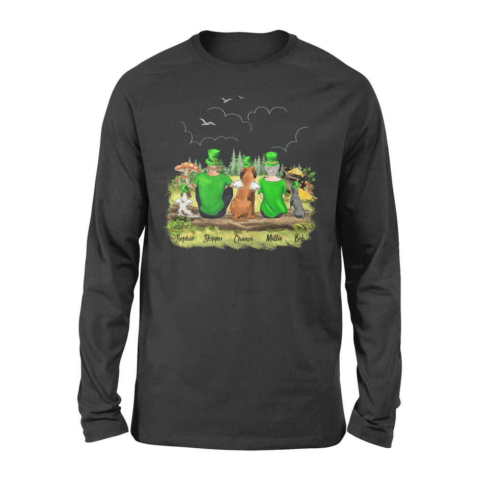 [BLACK] Personalized custom dog & couple St Patrick's day long sleeve - 2422