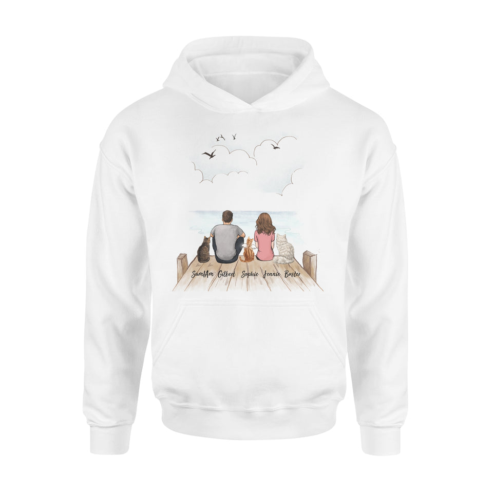 Personalized custom cat & couple hoodie gift for cat mom dad lover owner - Wooden Dock - 2408