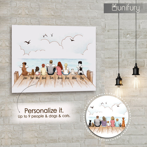 Personalized gifts with the whole family & dog & cat Canvas Print - UP TO 9 PEOPLE & PETS - Wooden dock