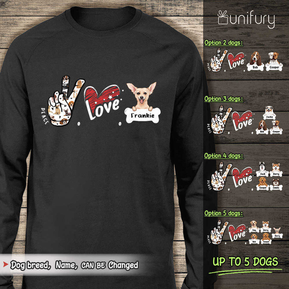 Personalized Peace Love Dog Long Sleeve