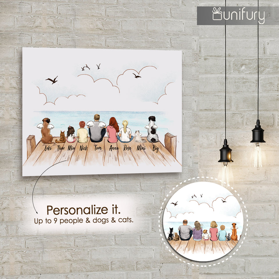 Personalized gifts with the whole family & dog & cat Metal Print - UP TO 9 PEOPLE & PETS - Wooden dock