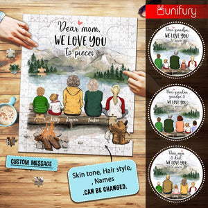 Personalized puzzle gifts for the whole family - We love you to pieces - UP TO 5 PEOPLE - Hiking - Mountain