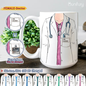 Personalized custom funny Doctor Edge to Edge Coffee Mug gifts for Doctors, Dentists, Physicians and Medical Specialties