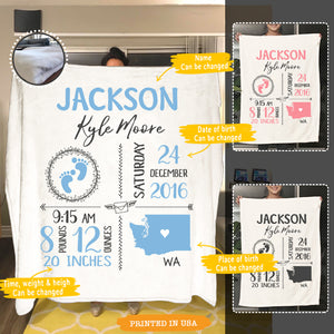 Personalized Baby Birth Announcement Fleece Blanket - 2397