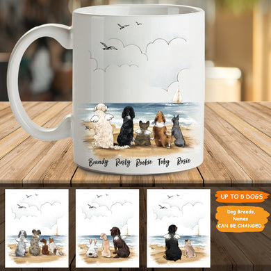 Personalized custom dog coffee mug gift for dog mom dad lover owner - Beach - 2366