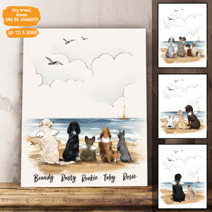 Personalized custom dog canvas print canvas art gift for dog mom dad lover owner - Beach - 2368