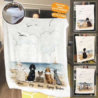 Personalized custom dog fleece blanket gift for dog mom dad lover owner - Beach - 2369
