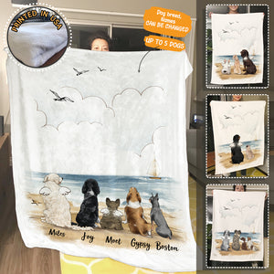 Personalized Dog Fleece Blanket - Beach - 2369