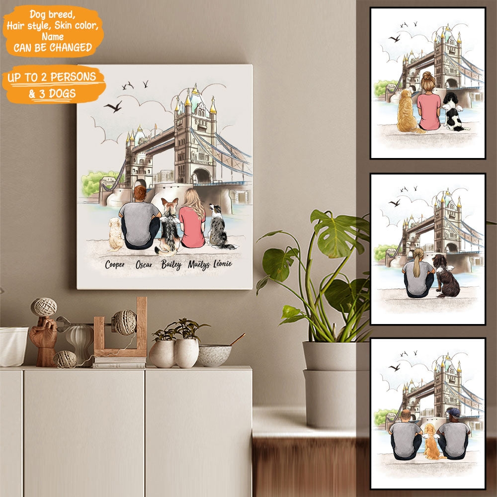 Personalized custom dog & couple canvas print canvas art gift for dog mom dad lover owner London - 2333