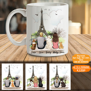 Personalized custom dog & couple coffee mug gift for dog mom dad lover owner Eiffel - 2326