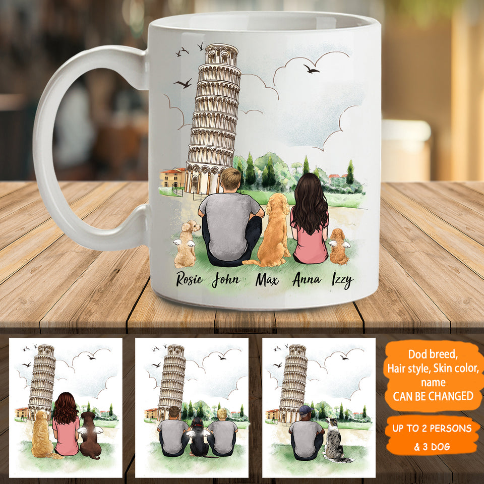 Personalized custom dog & couple coffee mug gift for dog mom dad lover owner - Pisa - 2329