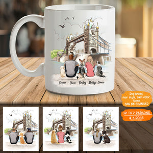 Personalized custom dog & couple coffee mug gift for dog mom dad lover owner London - 2333