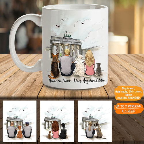 Personalized custom dog & couple coffee mug gift for dog mom dad lover owner - Brandenburg Gate - 2339