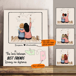Personalized custom long distance female best friend bestie sister birthday gift ideas canvas print canvas art  - Wooden Dock - 2352
